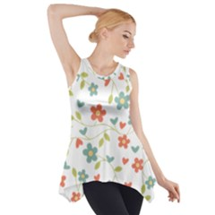 Abstract Vintage Flower Floral Pattern Side Drop Tank Tunic