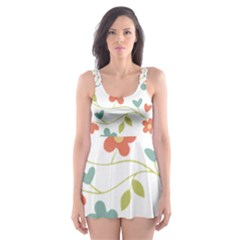 Abstract Vintage Flower Floral Pattern Skater Dress Swimsuit