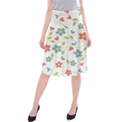 Abstract Vintage Flower Floral Pattern Midi Beach Skirt