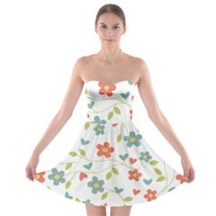 Abstract Vintage Flower Floral Pattern Strapless Bra Top Dress