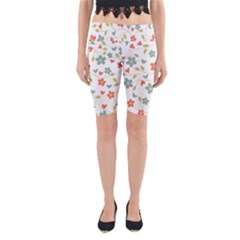 Abstract Vintage Flower Floral Pattern Yoga Cropped Leggings