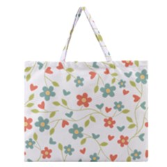 Abstract Vintage Flower Floral Pattern Zipper Large Tote Bag