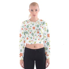 Abstract Vintage Flower Floral Pattern Women s Cropped Sweatshirt