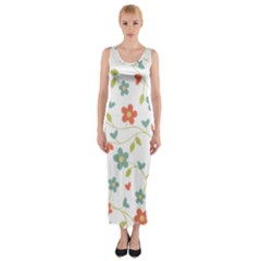 Abstract Vintage Flower Floral Pattern Fitted Maxi Dress