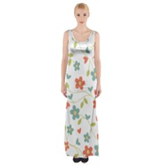 Abstract Vintage Flower Floral Pattern Maxi Thigh Split Dress