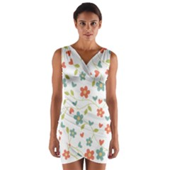 Abstract Vintage Flower Floral Pattern Wrap Front Bodycon Dress
