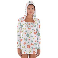 Abstract Vintage Flower Floral Pattern Women s Long Sleeve Hooded T-shirt
