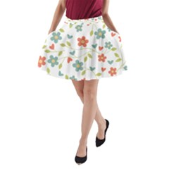Abstract Vintage Flower Floral Pattern A-Line Pocket Skirt