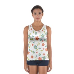Abstract Vintage Flower Floral Pattern Women s Sport Tank Top
