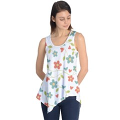 Abstract Vintage Flower Floral Pattern Sleeveless Tunic