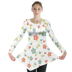 Abstract Vintage Flower Floral Pattern Long Sleeve Tunic