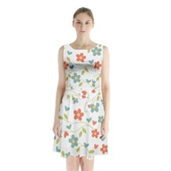 Abstract Vintage Flower Floral Pattern Sleeveless Chiffon Waist Tie Dress