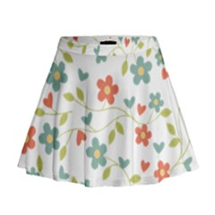 Abstract Vintage Flower Floral Pattern Mini Flare Skirt