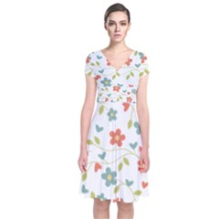 Abstract Vintage Flower Floral Pattern Short Sleeve Front Wrap Dress