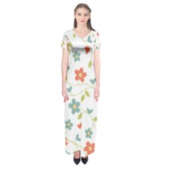 Abstract Vintage Flower Floral Pattern Short Sleeve Maxi Dress