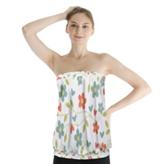 Abstract Vintage Flower Floral Pattern Strapless Top