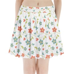 Abstract Vintage Flower Floral Pattern Pleated Mini Skirt