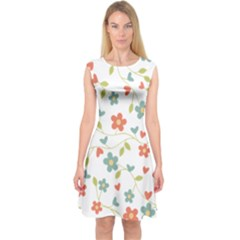 Abstract Vintage Flower Floral Pattern Capsleeve Midi Dress