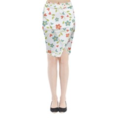 Abstract Vintage Flower Floral Pattern Midi Wrap Pencil Skirt