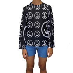 Anchor Pattern Kids  Long Sleeve Swimwear