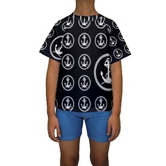 Anchor Pattern Kids  Short Sleeve Swimwear