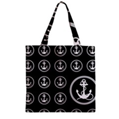 Anchor Pattern Zipper Grocery Tote Bag