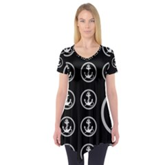 Anchor Pattern Short Sleeve Tunic