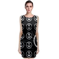 Anchor Pattern Sleeveless Velvet Midi Dress