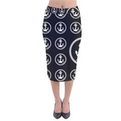 Anchor Pattern Velvet Midi Pencil Skirt