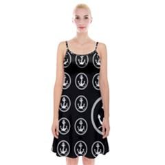 Anchor Pattern Spaghetti Strap Velvet Dress