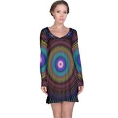 Artskop Kaleidoscope Pattern Ornamen Mantra Long Sleeve Nightdress