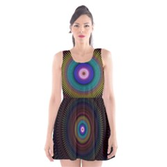 Artskop Kaleidoscope Pattern Ornamen Mantra Scoop Neck Skater Dress