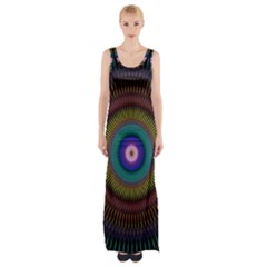 Artskop Kaleidoscope Pattern Ornamen Mantra Maxi Thigh Split Dress