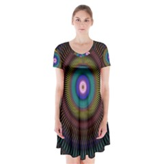 Artskop Kaleidoscope Pattern Ornamen Mantra Short Sleeve V-neck Flare Dress