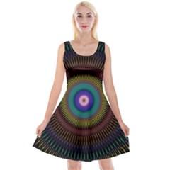 Artskop Kaleidoscope Pattern Ornamen Mantra Reversible Velvet Sleeveless Dress