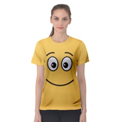 Smiling Face with Open Eyes Women s Sport Mesh Tee