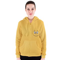 Smiling Face with Open Eyes Women s Zipper Hoodie
