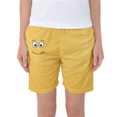Smiling Face with Open Eyes Women s Basketball Shorts