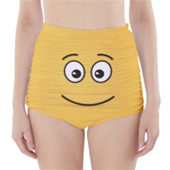 Smiling Face with Open Eyes High-Waisted Bikini Bottoms