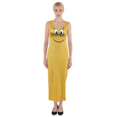 Smiling Face with Open Eyes Fitted Maxi Dress