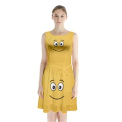 Smiling Face with Open Eyes Sleeveless Chiffon Waist Tie Dress
