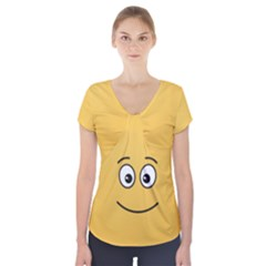 Smiling Face with Open Eyes Short Sleeve Front Detail Top