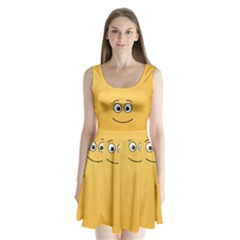 Smiling Face with Open Eyes Split Back Mini Dress