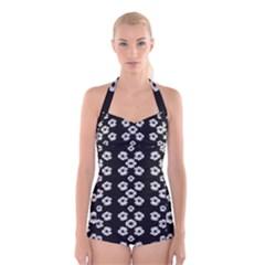 Dark Floral Boyleg Halter Swimsuit