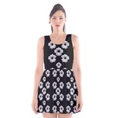 Dark Floral Scoop Neck Skater Dress