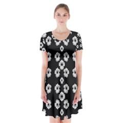 Dark Floral Short Sleeve V-neck Flare Dress