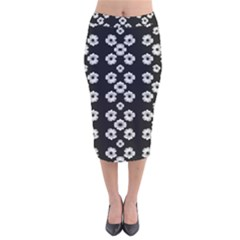 Dark Floral Velvet Midi Pencil Skirt