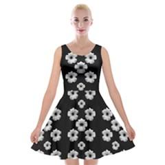 Dark Floral Velvet Skater Dress