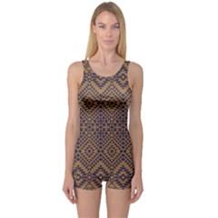 Aztec Pattern One Piece Boyleg Swimsuit