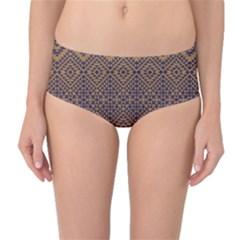 Aztec Pattern Mid Waist Bikini Bottoms